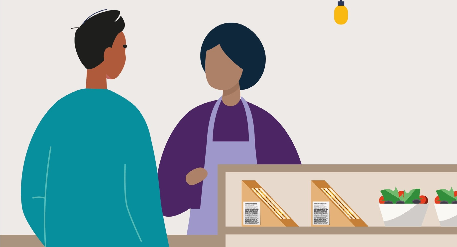 Illustration of two people in shop with labelled PPDS food